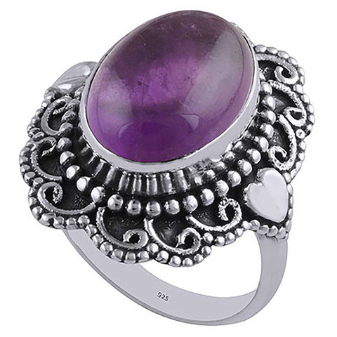 Passion Amethyst Sterling Silver Boho Ring