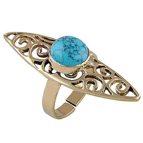 Brass turquoise shield bohemian statement ring