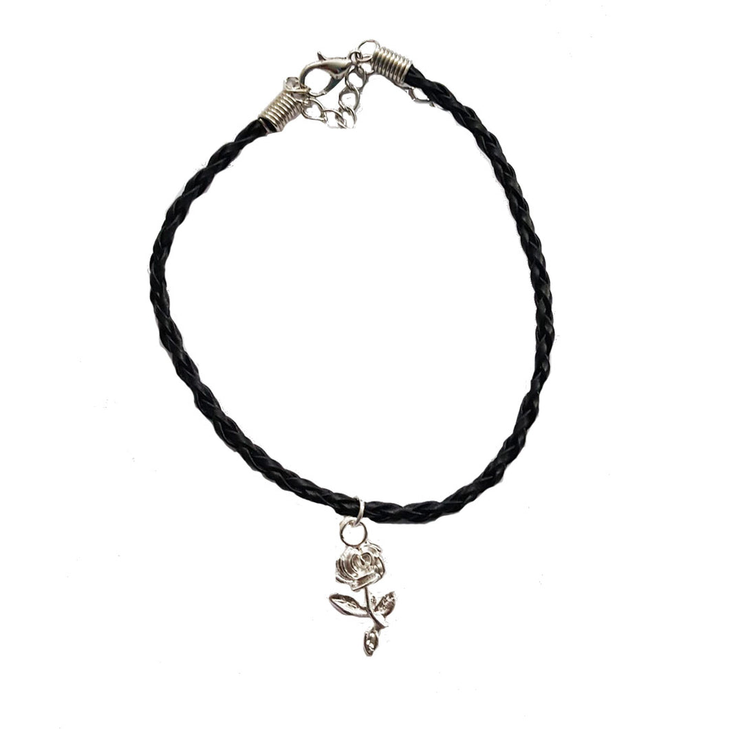 Rose Bohemian Leather Anklet Black