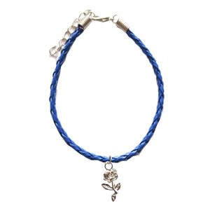 Rose Bohemian Leather Anklet Navy