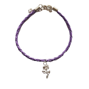 Rose Bohemian Leather Anklet Purple