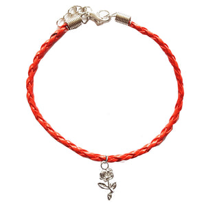 Rose Bohemian Leather Anklet Red