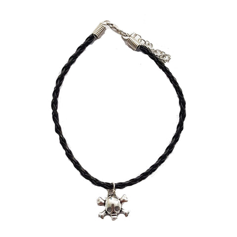 Skull Crossbones Bohemian leather Anklet Black