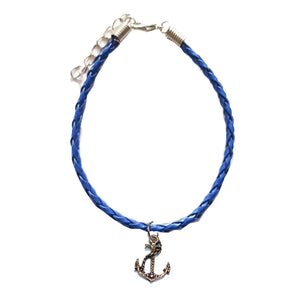 Navy Leather Bracelet with Anchor Charm