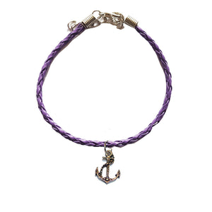 Purple Leather Bracelet with Anchor Charm