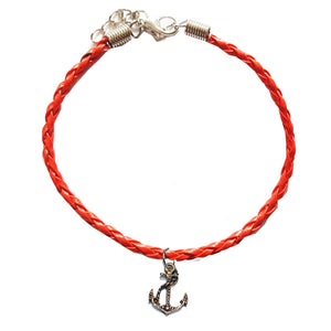 Red Leather Bracelet with Anchor Charm