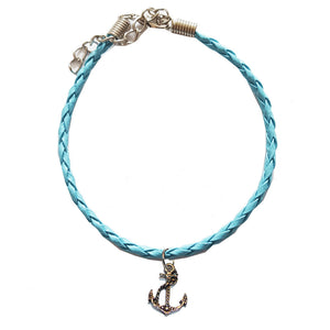 Turquoise Leather Bracelet with Anchor Charm