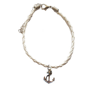 White Leather Bracelet with Anchor Charm