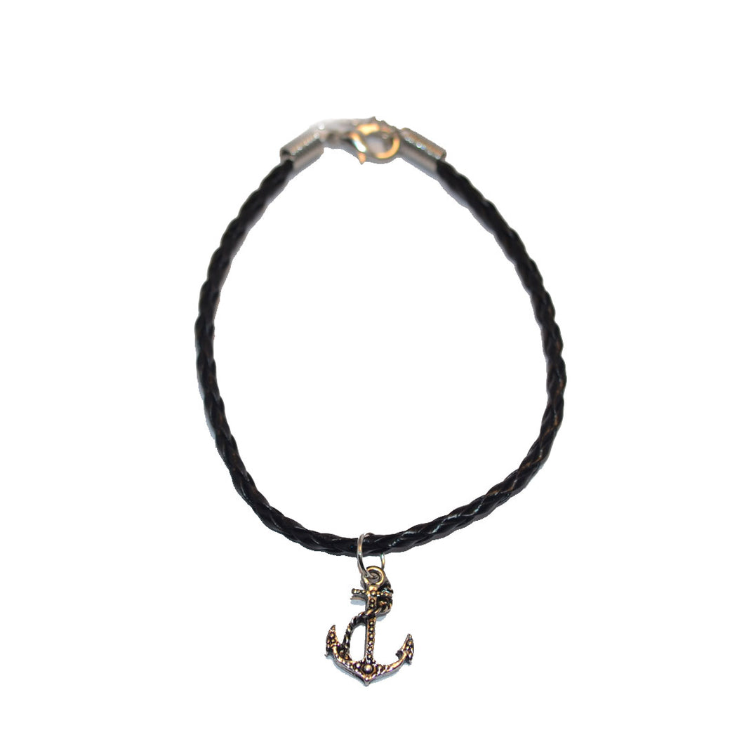 Black Leather Bracelet with Anchor Charm