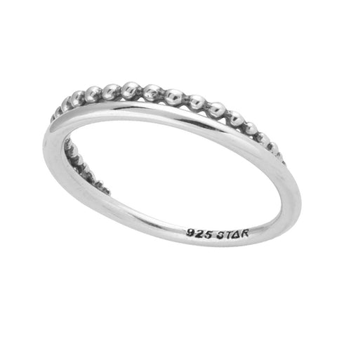 Tapered Beaded Sterling Silver Boho Ring