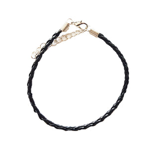 Black Braided Leather Bohemian Bracelet Anklet