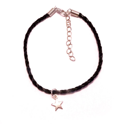 Dainty Star Bohemian Leather Anklet Black
