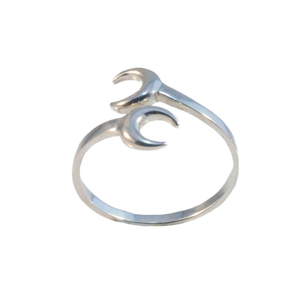 Double crescent moon sterling silver boho ring