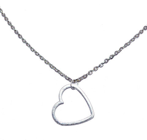 Hollow Heart Charm Necklace