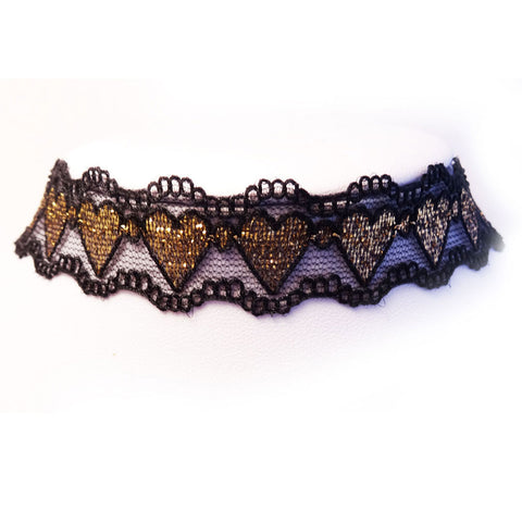 Lacey Heart Ribbon Choker