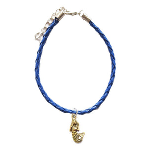 Mermaid Bohemian Leather Charm Anklet Navy