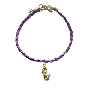 Mermaid Bohemian Leather Charm Anklet Purple