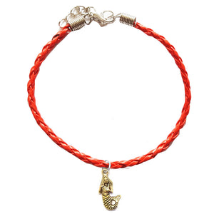 Mermaid Bohemian Leather Charm Anklet Red