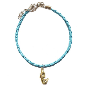 Mermaid Bohemian Leather Charm Anklet Turquoise