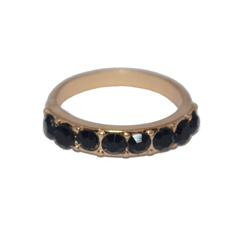 Midnight Black Crystal Gothic Ring