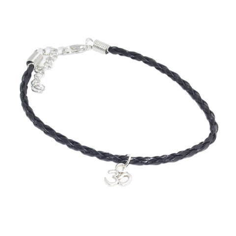 Dainty Om Bohemian Leather Anklet Black