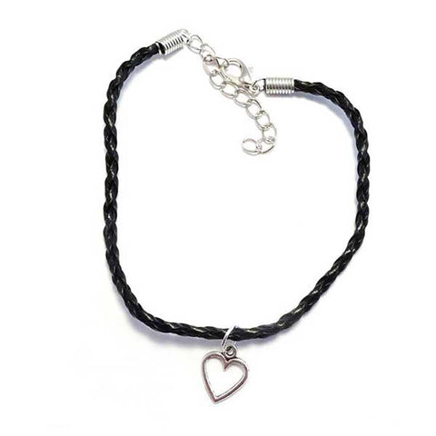 Open Heart Bohemian Leather Anklet Black