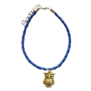 Gold Owl Bohemian Leather Anklet Navy