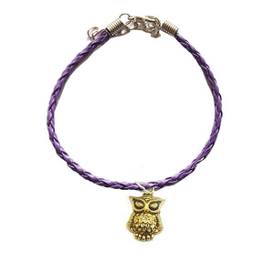 Gold Owl Bohemian Leather Anklet Purple