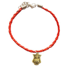 Load image into Gallery viewer, Gold Owl Bohemian Leather Anklet Red