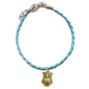 Gold Owl Bohemian Leather Anklet turquoise