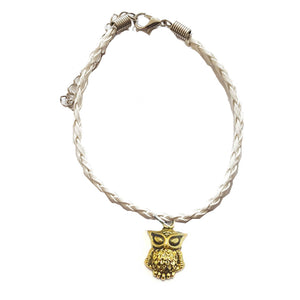 Gold Owl Bohemian Leather Anklet White