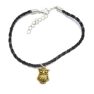 Gold Owl Bohemian Leather Anklet Black