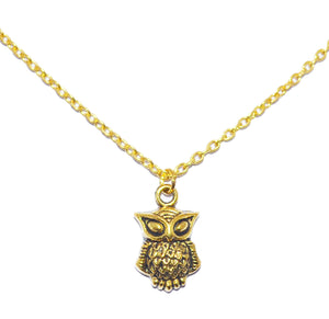 Owl Bohemian Charm Necklace Bronze 1