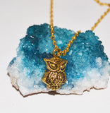 Owl Bohemian Charm Necklace Bronze 3