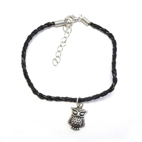 Silver Owl Bohemian Leather Anklet Black