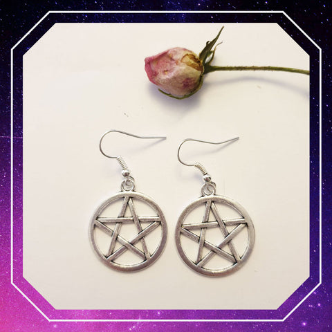 Pentagram Gothic Drop Earrings