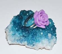 Load image into Gallery viewer, Purple Chunky Kitsch Rose Ring 2