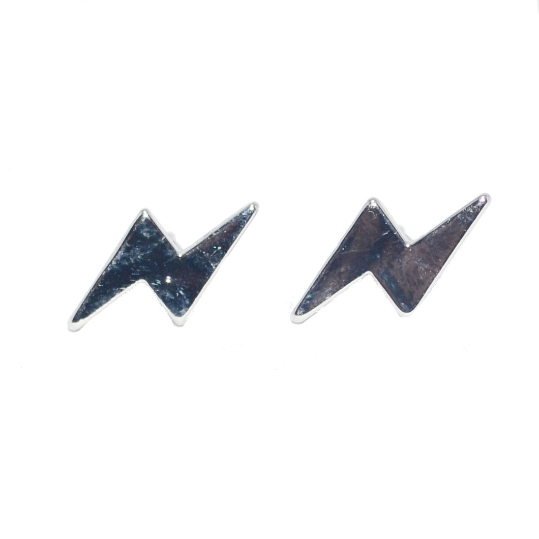 Silver Lightning Bolt Stud Earrings 2