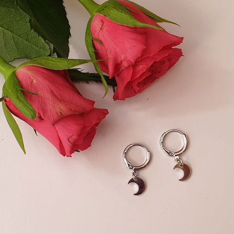 Small Moon Hoop Earrings