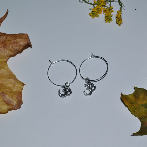 Dainty Om Charm Hoop Earrings
