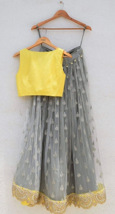Grey Yellow Lehenga with Yellow Dupatta