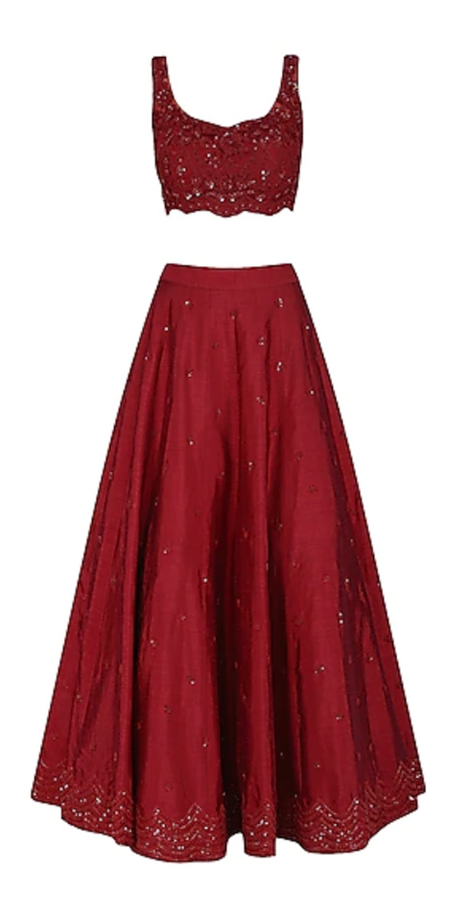 Deep Red Embroidered Lehenga Set