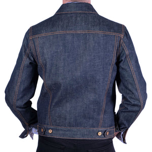 raw selvage denim trucker jacket back