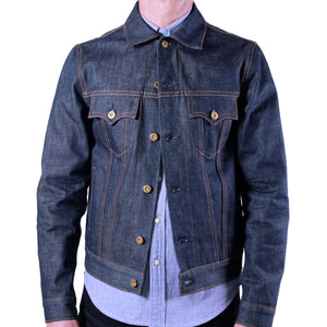 raw selvage denim trucker jacket front