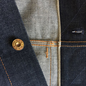 raw selvage denim trucker jacket front inside placket detail 2