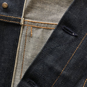 raw selvage denim trucker jacket front inside placket detail 1
