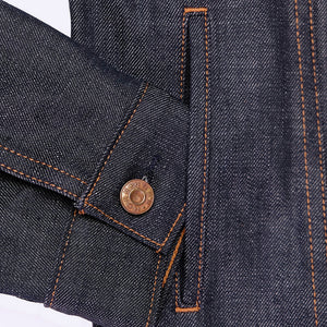 raw selvage denim trucker jacket side pocket detail