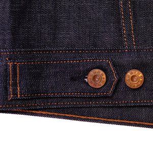 raw selvage denim trucker jacket back tab detail