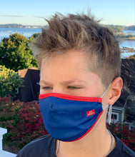 "Load image into Gallery viewer, ""Baller"" Youth Face Mask (Royal/Red)"