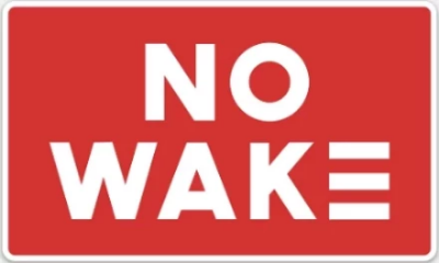 Red No Wake Sticker
